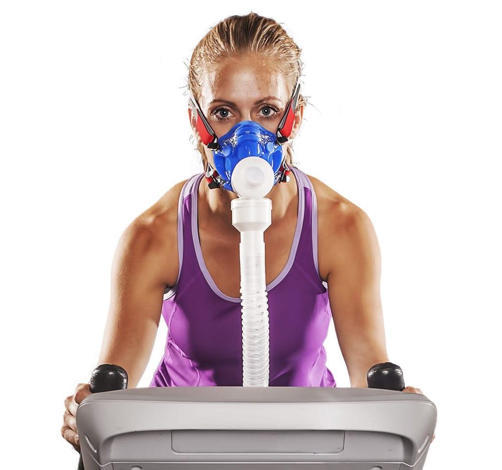woman wearing vo2 mask
