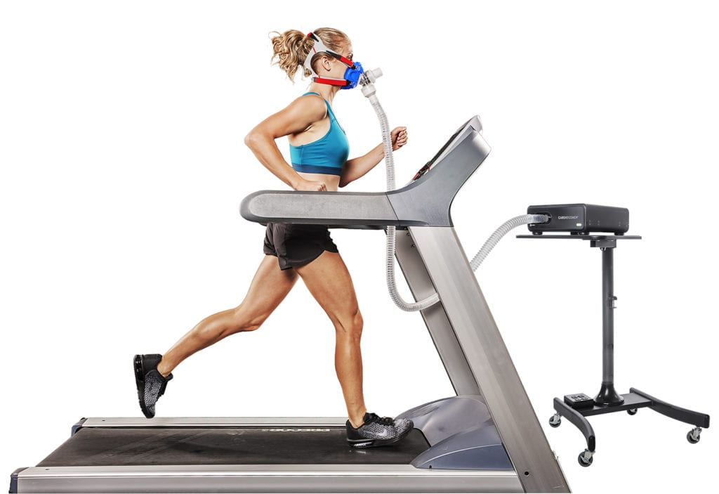 woman running on treadmill wearing vo2 mask