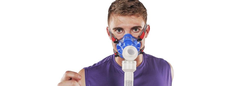 man using VO2 mask