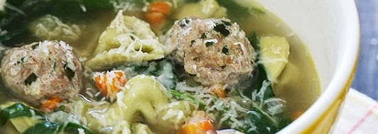 bowl of meatball and tortellini soup