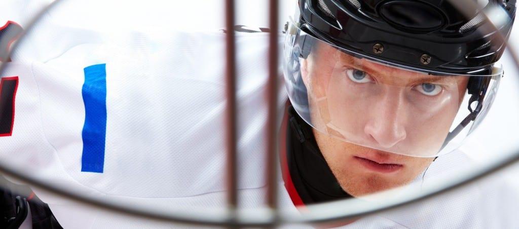 hockey player staring at the camera