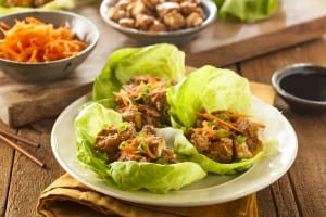 Healthy Asian Chicken Lettuce Wrap with Carrots ** Note: Shallow depth of field
