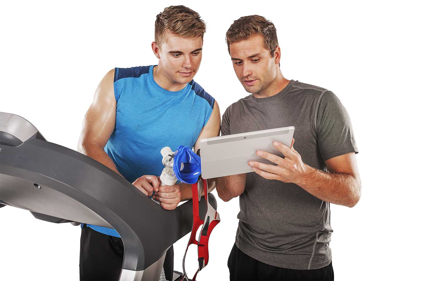 man showing another mean holding a vo2 mask something on a tablet